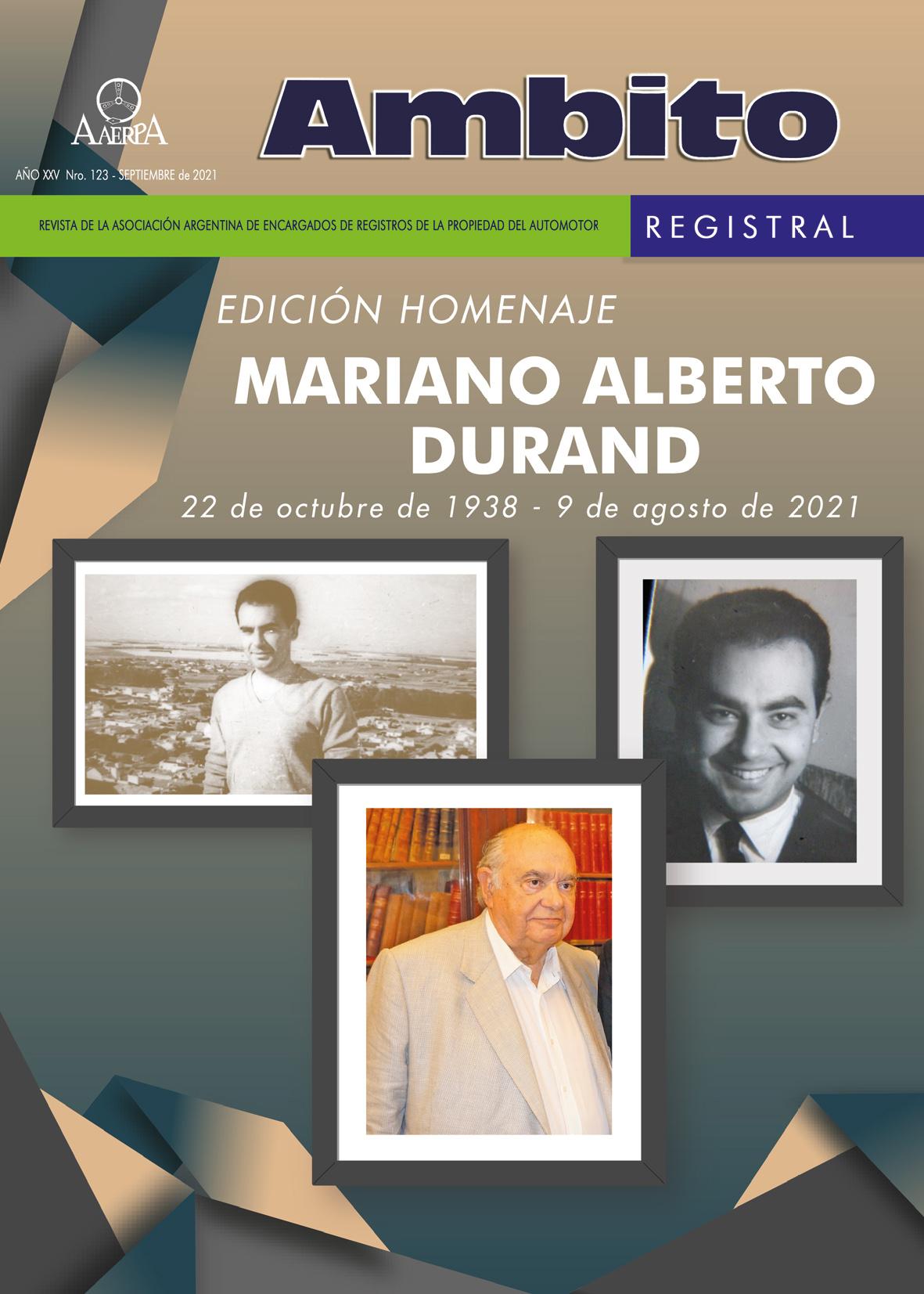 Revista Ámbito Registral N° 123. Edición homenaje Mariano Durand